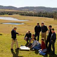 A group of students study the environment on Tocal
