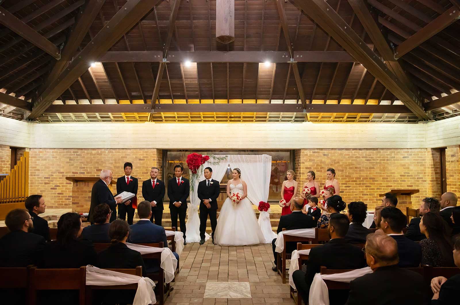 Bridal party inside chapel