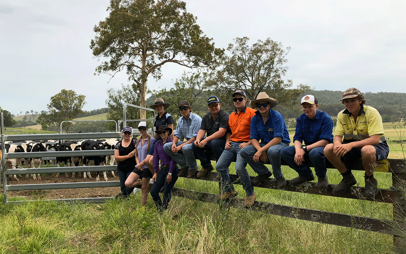 Dairy students sitting on a fence