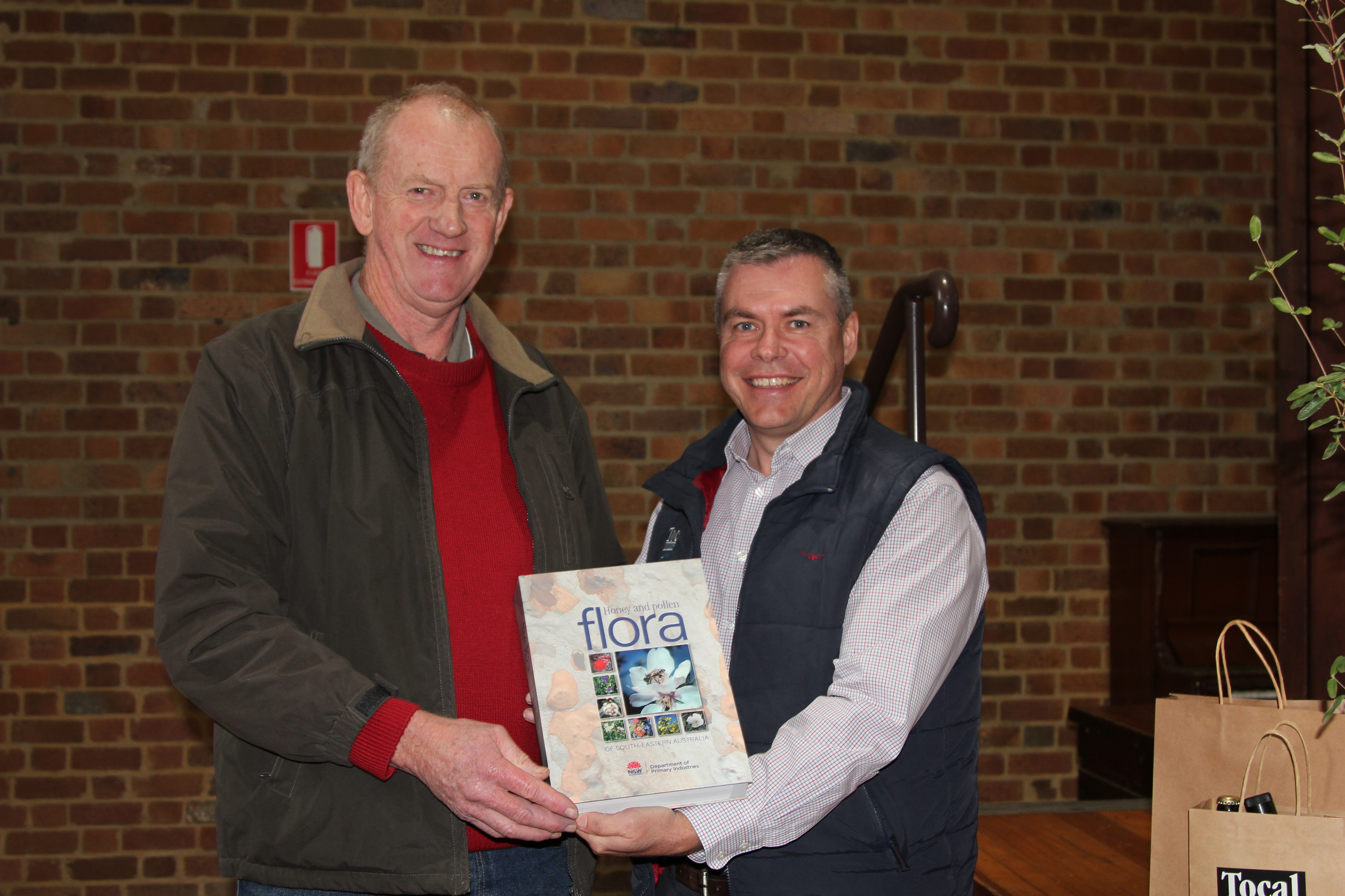 Dr Doug Somerville launching his book with Tocal Principal Darren Bayley