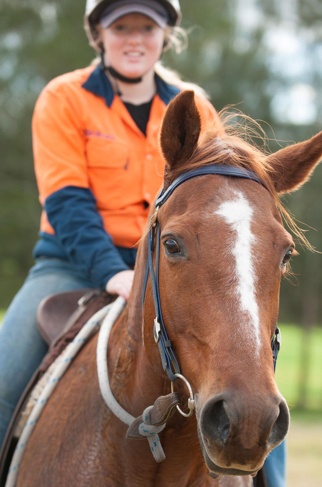 Female student on horse
