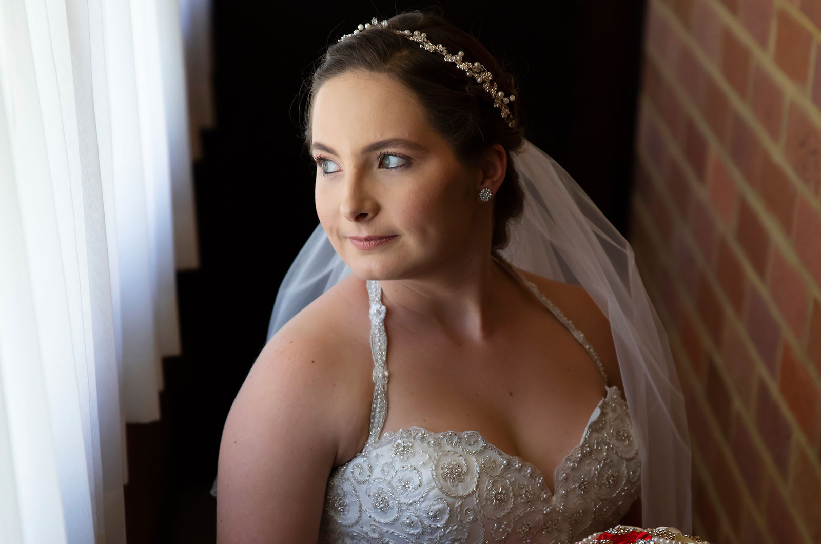 Bride posing in cottage