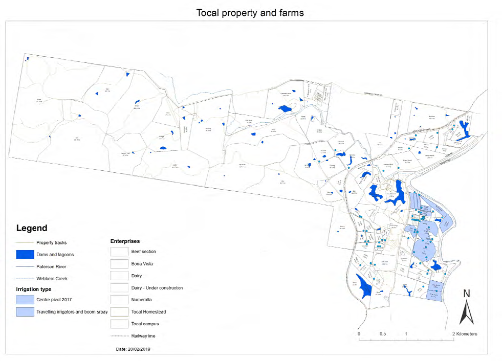 Map showing Tocal's water resources